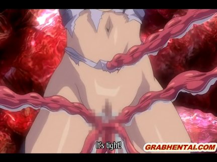 Hentai with bigtits gets drilled by red tenta
