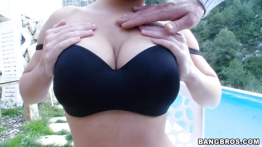Girl with big tits gets trio'd