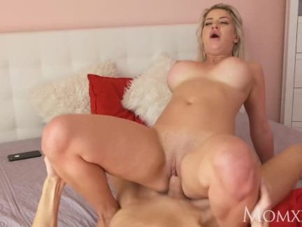 MOM Big butt big tits British MILF swallows mouthful of cum from huge cock